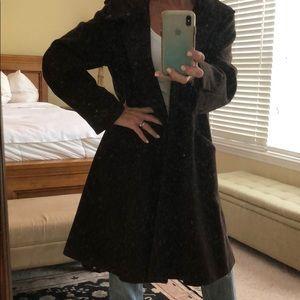 Eileen Fisher Dark Brown Long Wool Blend Coat